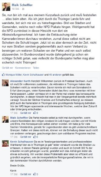 """Öffentliche Kritik von NPD-Funktionären im Internet - Mit """"innerparteilicher Reinigungsmaßnahme"""" soll Wieschke entfernt werden"""
