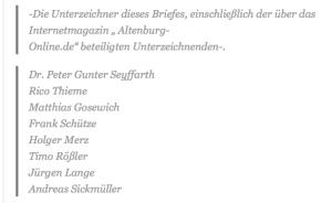 Unterzeichner des offenen Briefs des Forums vom 11.10.2015 an den Altenburger Oberbürgermeister