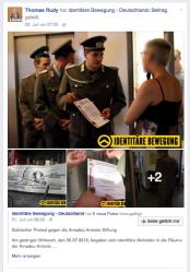Auch der Abgeordnete Thomas Rudy verbreitet Beiträge der Identitären Bewegung, zuletzt am 22. Juli 2016