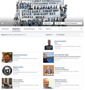 """Thomas Rudy gemeinsam mit Neonazis Mitglied in der Facebook-Gruppe """"Volksaufstand"""""""