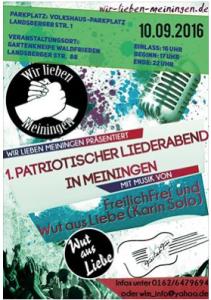 """""""Patriotischer Liederabend"""" mit extrem rechten Musikern, am gleichen Veranstaltungsort soll auch das Treffen mit der AfD zwei Wochen später stattgefunden haben"""